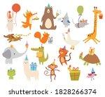 set of happy birthday animals.... | Shutterstock .eps vector #1828266374
