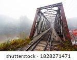 Foggy Train Bridge Over Pemi...