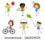 set of cute little girls | Shutterstock .eps vector #182829035