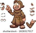 cartoon monk with different...   Shutterstock .eps vector #1828317017