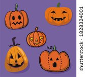 halloween party colorful icons...   Shutterstock . vector #1828324001
