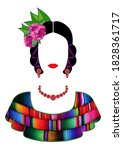 mexican woman with mayan dress... | Shutterstock .eps vector #1828361717