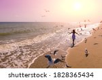 Seascape During Sunrise With...