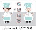 retro chef boy and girl dolls... | Shutterstock .eps vector #182836847