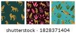 set of seamless exotic pattern...   Shutterstock .eps vector #1828371404
