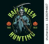halloween colorful emblem in...   Shutterstock .eps vector #1828394807
