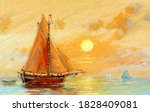 Fishing Boats. Oil Painting Sea ...