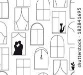 windows pattern black and white | Shutterstock .eps vector #182841695