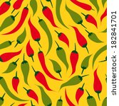 hot pepper pattern colored | Shutterstock .eps vector #182841701