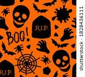 happy halloween seamless...   Shutterstock .eps vector #1828436111