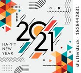 happy new year 2021 banner with ... | Shutterstock .eps vector #1828442831