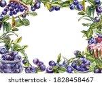 blueberry. watercolor botanical ... | Shutterstock . vector #1828458467