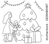 Outline Coloring Mother And...