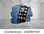 smartphone on abstract screen... | Shutterstock . vector #182854769