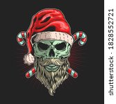 skull santa with beard... | Shutterstock .eps vector #1828552721