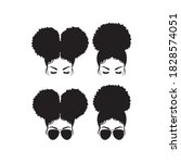 Silhouette image of woman with afro puff bun hairstyle and sunglasses vector illustration.