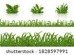 realistic green grass. 3d fresh ... | Shutterstock . vector #1828597991