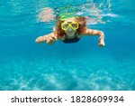 Young Woman In Snorkeling Mask...