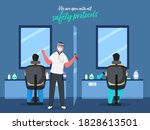illustration of barber man with ... | Shutterstock .eps vector #1828613501