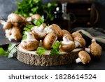 Raw Mushrooms Champignons On...