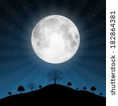 vector full moon illustration... | Shutterstock .eps vector #182864381