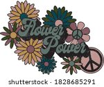hippie themed floral...   Shutterstock .eps vector #1828685291