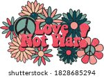 hippie themed floral...   Shutterstock .eps vector #1828685294