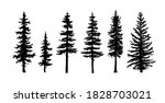set of tree silhouettes of... | Shutterstock . vector #1828703021