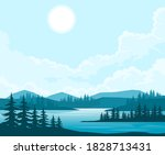 Nature Landscape With Fir Trees ...