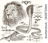 vector set of hand drawn... | Shutterstock .eps vector #182872064
