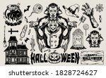 Halloween Vintage Elements Set...