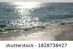 Small photo of California summertime beach aesthetic, blurred defocused water wave. Shiny sun track and sunlight. Santa Monica pacific ocean resort. Dreamlike tranquil nebulous background. Unclear quiet idyllic sea.