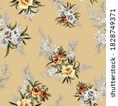 Grey And Yellow Vector Flowers...