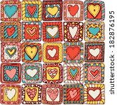 Seamless pattern of original drawing doodle hearts. Series of template design for love card with set of doodle hearts #1 (colored version).