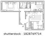 planning of the apartment with... | Shutterstock .eps vector #1828769714