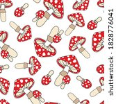 red toadstools on a white... | Shutterstock .eps vector #1828776041
