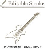 electric guitar icon. editable...