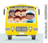 cheerful school bus driver and... | Shutterstock .eps vector #182890061