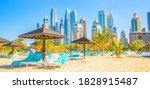 jumeirah beach and dubai city... | Shutterstock . vector #1828915487
