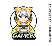 gamer anime boy playing on... | Shutterstock .eps vector #1828930421