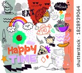 food  doodle drawing collection.... | Shutterstock .eps vector #1828939064