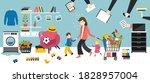 tired multitasking woman... | Shutterstock .eps vector #1828957004