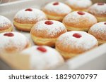 Small photo of Hanukkah symbol jewish food holiday image of donut with jelly and sugar powder.