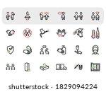 flat line icons set. vector... | Shutterstock .eps vector #1829094224