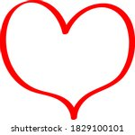 red heart   outline drawing for ... | Shutterstock .eps vector #1829100101