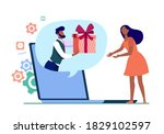 Woman Getting Virtual Gift. Man ...