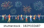 happy people celebrating on...   Shutterstock .eps vector #1829102687