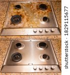 Dirty Gas Stove Stained While...