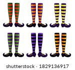 halloween witch legs collection.... | Shutterstock .eps vector #1829136917