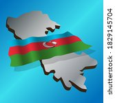 azerbaijan flag with a map of... | Shutterstock .eps vector #1829145704